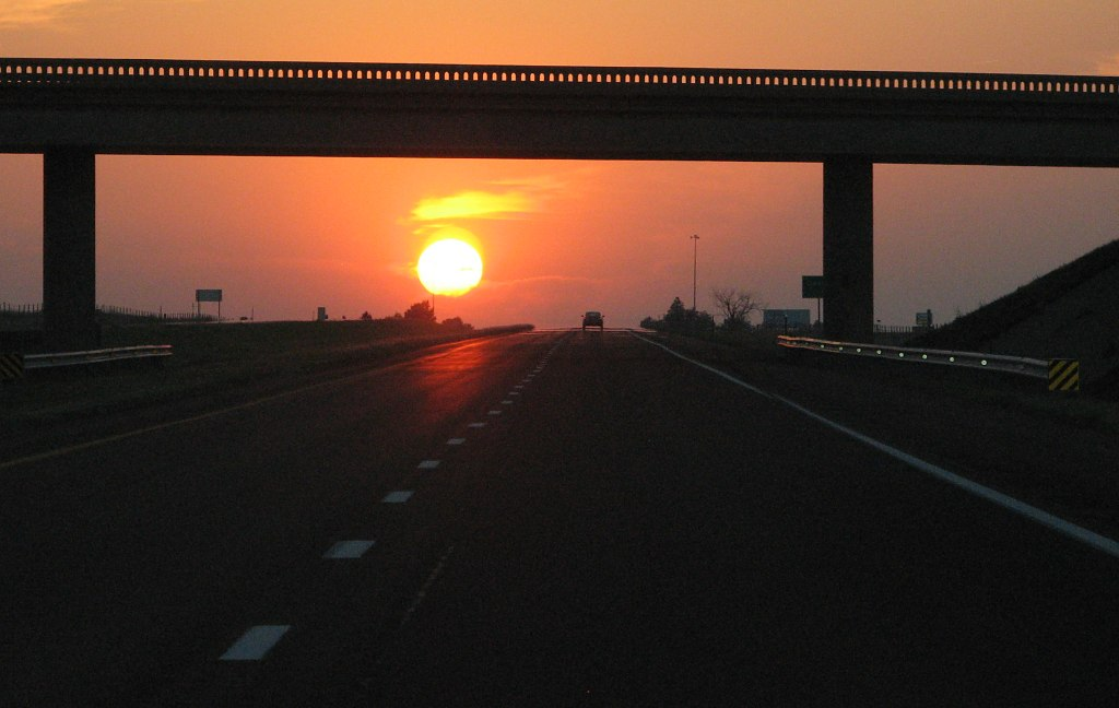 Kansas sunset on I-70
