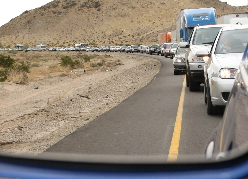 3.5 hour traffic jam for 150 yards of construction between LA and Vegas